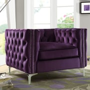 Chic Home Furniture Da Vinci Velvet Club Chair; Purple