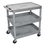 Offex Flat Top and Tub Middle/Bottom Shelf Utility Cart; Gray