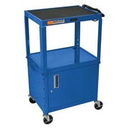 Offex Metal 3 Shelf AV Cart; Blue