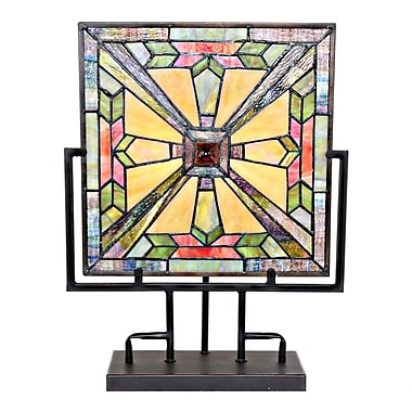 River of Goods Mission Style Stained Glass Square Panel 17'' Table Lamp