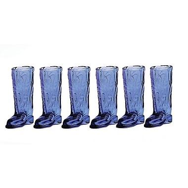 Circle Glass Kickback 1.5 oz. Boot Shot Glass (Set of 6); Blue