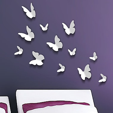 Walplus 3D Butterfly Wall Decal; White
