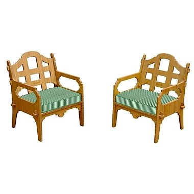 Loon Peak Burliegh Contemporary Striped Lounge Chair (Set of 2); Green/White
