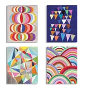 KindredSolCollective 'Mid Century Abstract' 4 Piece Painting Print on Paper Set