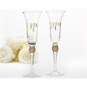 Kate Aspen Glitter and Rhinestone Mr. & Mrs. Champagne Flute (Set of 2)