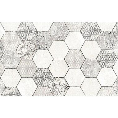 Kavka Hexa Gray/White Area Rug; 3' x 5'