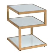 ACME Furniture Alyea End Table; Frosted Glass/Champagne