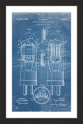 Marmont Hill 'Vacuum Tube 1924 Blueprint' by Steve King Framed Painting Print
