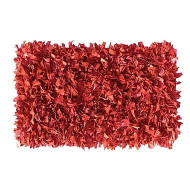 Ess Ess Exports Shaggy Hand-Knotted Red Indoor/Outdoor Area Rug