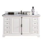 James Martin Furniture Providence 60'' Single Cottage White Bathroom Vanity Set; 2cm