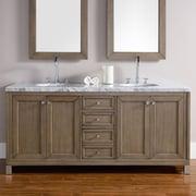 James Martin Furniture Chicago 72'' Double White Washed Walnut Bathroom Vanity Set