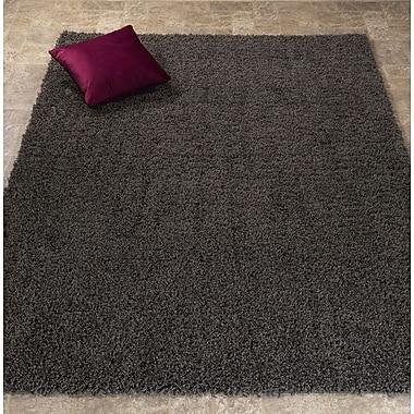 Ottomanson Ultimate Shaggy Soft Solid Plush Shag Dark Gray Area Rug; 5' x 7'