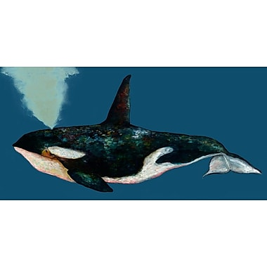 GreenBox Art ''Orca on Deep Blue'' by Eli Halpin Painting Print on Canvas in Blue