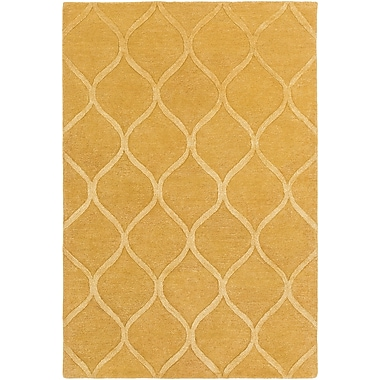 World Menagerie Massey Hand-Tufted Gold Area Rug; 3' x 5'
