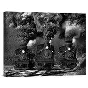 Global Gallery 'Train Race in Bw' by Chuck Gordon Photographic Print on Wrapped Canvas