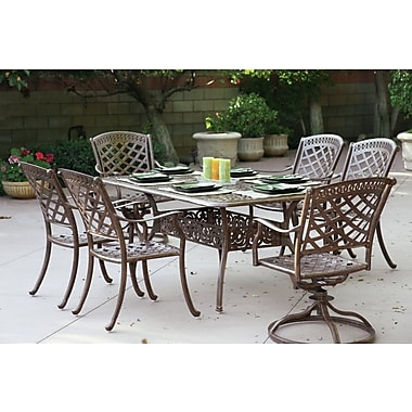 Alcott Hill Thompson 7 Piece Dining Set w/ Cushions; Mocha