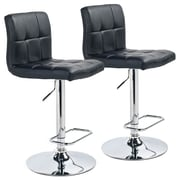 WorldWide HomeFurnishings Adjustable Height Swivel Bar Stool (Set of 2); Black