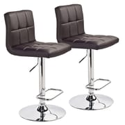 WorldWide HomeFurnishings Adjustable Height Swivel Bar Stool (Set of 2); Brown