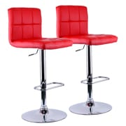 WorldWide HomeFurnishings Adjustable Height Swivel Bar Stool (Set of 2); Red