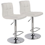 WorldWide HomeFurnishings Adjustable Height Swivel Bar Stool (Set of 2); White