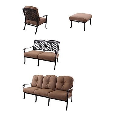 Alcott Hill Thompson 4 Piece Deep Seating Group w/ Cushions; Antique Bronze