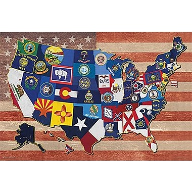 Frame USA 'State Flag Map of the US Poster' Framed Graphic Art