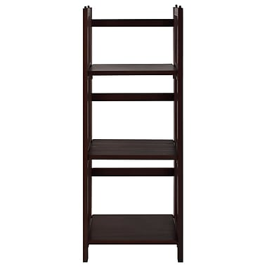 Casual Home 3 Shelf Folding Stackable 38'' Accent Shelves Bookcase; Walnut