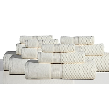 Rockford International 650 GSM 100pct Cotton Sensual Spa Hollister 12 Piece Towel Set; Ivory