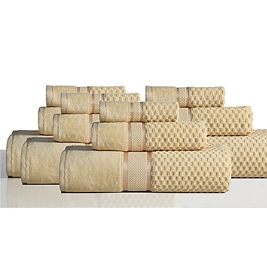 Rockford International 650 GSM 100pct Cotton Sensual Spa Hollister 12 Piece Towel Set; Honey