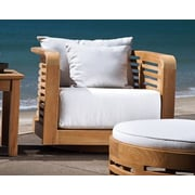 OASIQ Hamilton Swivel Lounge Chair w/ Cushion; Canvas White