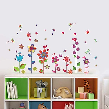 Walplus Colorful Flowers Butterflies Wall Decal