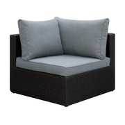 A&J Homes Studio Basswood Outdoor Corner Chair w/ Cushion; Black