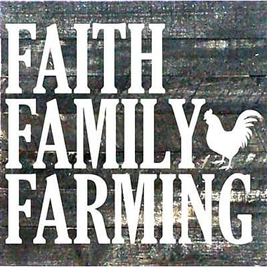 Artistic Reflections 'Faith Family Farming' Textual Art on Dark Wood