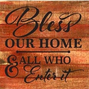 Artistic Reflections 'Bless Our Home and All Who Enter It' Textual Art on Cherry Wood