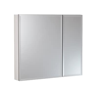 Hazelwood Home 30'' x 26'' Surface Mount and Recessed Beveled Medicine Cabinet; White
