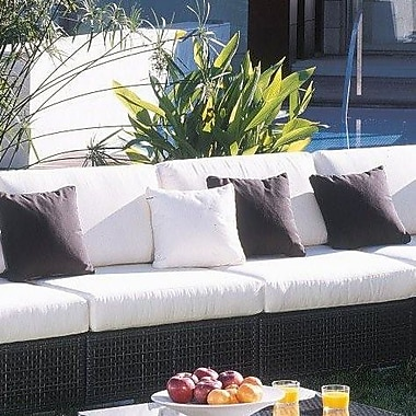 Hospitality Rattan Soho Patio Lounge Armless Chair w/ Cushion; Blox Slate