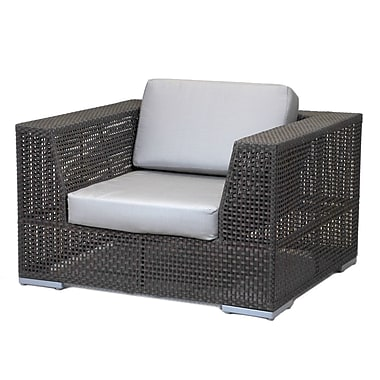 Hospitality Rattan Soho Patio Lounge Chair w/ Cushion; Foster Metallic