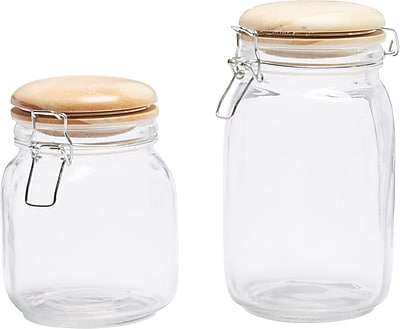 Circle Glass 2PC Hermetic Canisters w/ Wooden Lids