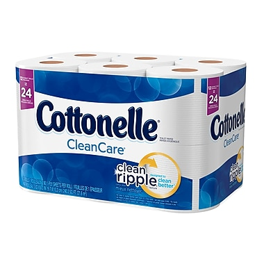Cottonelle – Papier hygiénique Clean Care en rouleaux doubles, paq./12