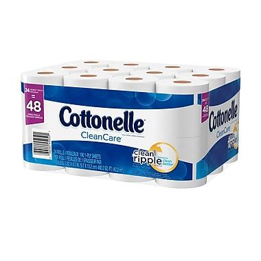 Cottonelle – Papier hygiénique Clean Care en rouleaux doubles, paq./24