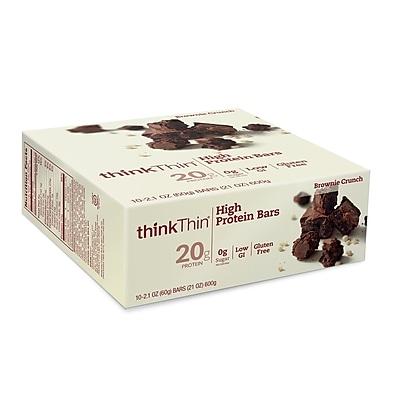 thinkThin High Protein Bars Brownie Crunch, 2.1 oz, 10 Count