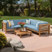 Gracie Oaks Birdsboro 4 Piece Sectional Seating Group w/ Cushion; Blue