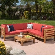 Gracie Oaks Birdsboro 4 Piece Sectional Seating Group w/ Cushion; Red