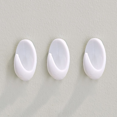 Richelieu Utility Adhesive Wall Hook (Set of 3); White