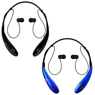 beFree Sound BHBT-7X-BLK-BLU Bluetooth Wireless Active Headphones with Microphone in Black and Blue