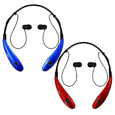 beFree Sound BHBT-7X-BLU-RED Bluetooth Wireless Active Headphones with Microphone in Blue and Red