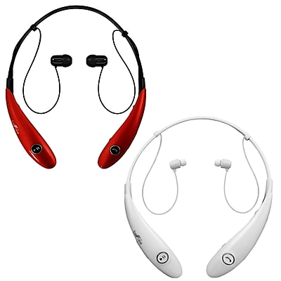 beFree Sound BHBT-7X-WHT-RED Bluetooth Wireless Active Headphones with Microphone in White and Red