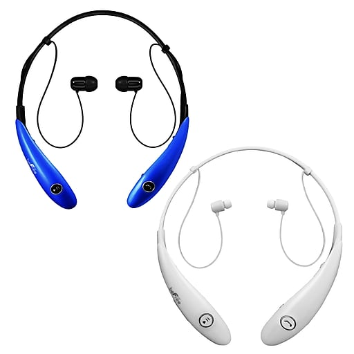 beFree Sound BHBT-7X-BLU-WHT Bluetooth Wireless Active Headphones with Microphone in Blue and White