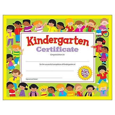 Trend Enterprises® Kindergarten Diploma Certificate, 8 1/2