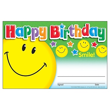 Trend Enterprises® Recognition Awards, Happy Birthday (Smile)